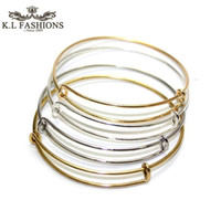 Wholesale Wires For Bracelet - Quality Guranteed Bracelets Bangles Jewelry DIY Silver Gold Tone Expandable Wire Bangle For Beading Or Charms