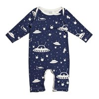 Baby Boys UFO Pattern Jumpsuits 2017 Autumn Infant Clothing INS Hot Sale 0-18m Baby Toddlers Boys Algodão Long Sleeves Onesies