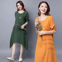 Wholesale Boho Dress Xl Brown - Autumn Summer Dress Women Casual Loose Vestidos Long Sleeve Boho Cotton Linen Long Shirt Vintage Dresses Plus Size