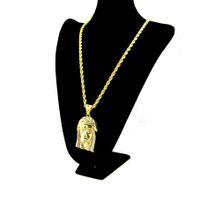 trendy kalça zincirleri toptan satış-18 K Altın Kaplama İSA Mesih Parça Kafa Yüz Hip Hop Erkekler ve Kadınlar Için kolye Kolye Charm Zinciri Trendy Tatil aksesuarları