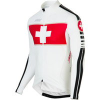 Wholesale Exercise Bicycles - 2017 Autumn men switzerland bicycle exercise cycling clothing thin wicking cycling jersey long sleeve 2XS-6XL