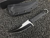 couteau à manche d2 en titane achat en gros de-Top Qualité Lame Fixe Machete D2 Titane Lame CNC Noir G10 Poignée Karambit Griffe Couteau Camping En Plein Air Vitesse Tactique