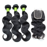 Wholesale Cheap Wholesale Black Hair Products - Brazilian Body Wave Hair With Weaves Closure Double Weft Human Hair Weave 3 Bundles With Lace Closure 4x4 Cheap Fashion Hair Products