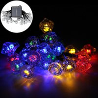 Wholesale Led String Diamond Lights - Wholesale- 15.74ft 20LEDs Garden Home Decoration Solar LED String Lighting Lamp Outdoor Fairy Diamond Waterproof Christmas Solar Lamps