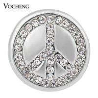 Wholesale Crystal Studded - VOCHENG NOOSA Ginger Snaps Studded Bling Crystal Peace Sign 18mm Button Jewelry Vn-1338