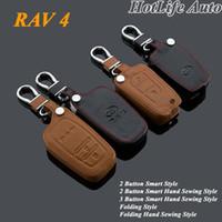 Wholesale Toyota Rav4 Keychain - 2014 2015 TOYOTA RAV4 Rav 4 Car Keychain Genuine Leather Key Cover Smart Folding Style Remote Car Key Case Auto Key Chain Ring