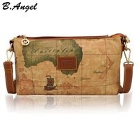 Wholesale world map bag brand online - High quality fashion world map women messenger bag special handbag brand designer shoulder bag casual small bag