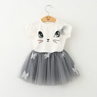 Wholesale white cat suits for sale – halloween Baby Girls Cartoon Lace Tutu skirt Sets Cat Top T shirt Skirt sets Infant Summer Short Skirt Suit Children Outfits E1014