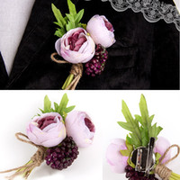 Wholesale Cheap Corsages - Groom Wedding Boutonnieres Corsage Flowers Wedding Corsage Prom Boutonniere Flowers Cheap High Qaulity Wedding Boutonniere for Guests