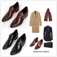 Wholesale Men Office Shoes Brown - 2017 New Brand Mens Dress Genuine Leather Black Brown Lace-up Pointed Toe Formal Business Office Men Flats Shoes Big Size 38-45