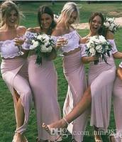 uzun iki yan yarık elbise toptan satış-Chic İki Adet Yan Yarık ile Pembe Dantel Gelinlik Modelleri Kısa Kollu Seksi Durum Örgün Törenlerinde Streç Saten gelinlik modelleri Uzun