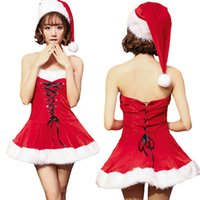 Wholesale Santa Claus Sexy - 2017 Fashion Women Christmas Costume Sexy Cosplay Costumes With Santa Hat Fancy Ladies Santa Dress RF0283