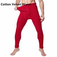 Wholesale Thermals Underwear Men Wool - Wholesale-New Cotton Thermal Underwear winter thick comfortable Grinding wool fabrics long johns men Warm Pants plus size L-XXXL