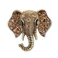 Wholesale Bronze Ball Head Pins - retro Argent Bronze Studded with full rhinestone Indian elephant head Brooches Elephant god Brooch pins Ganesha Corsage thorn women xz022