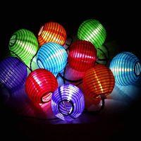 medidor de luz de papel venda por atacado-Edison2011 AC110V Entrada EUA Plug 10 pcs Bandeira Americana Lanterna De Papel 75mm de Diâmetro CONDUZIU a Corda Luz para o Feriado Luzes Decoração 4 Metro um Conjunto