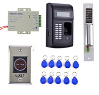 Wholesale Readers Card Access Systems - Wholesale- 10 Key CARD + 1000 Users LCD Fingerprint 125KHz RFID ID Card Reader Door Lock Fingerprint Access Control System+Door Lock