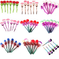 pinceaux de maquillage de fleurs achat en gros de-New Rose Flower Maquillage Brush Set Fondation Brush Fard À Paupières Brush kit 6 pcs / set 9 Style OPP Sac Emballé