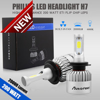 led-scheinwerfer großhandel-2pcs 200W 20000LM H7 imprägniern LED-Lampen-Scheinwerfer-Installationssatz-Auto-Lichtstrahl-Birnen 6000K Weiß Freies Verschiffen