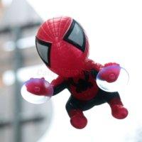 brinquedos de sucção para homens venda por atacado-Estilo do carro Bonito Etiqueta Do Carro Subindo Homem Aranha Ventosa Boneca de Brinquedo de 360 Graus de Rotação Decoração Do Carro Acessórios Preto / Vermelho