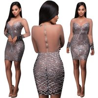 All'ingrosso-Vedere attraverso le donne abiti Sequin Vestidos backless Abiti fasciatura fasce Bodycon Sexy Mini party Night Club Dress Femme Jupe