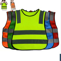 ropa de trabajo de seguridad al por mayor-Niños de alta visibilidad Woking chaleco de seguridad Tráfico de carretera de trabajo chaleco Verde ropa de seguridad reflectante para los niños chaleco de seguridad chaqueta KKA3004