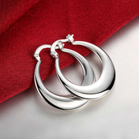 Crescent Moon Round Creole Hoop Pendientes para Mujeres 925 Sterling Silver Plated Big Earring European Brand Fashion Statement Joyería Regalos