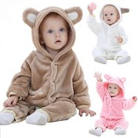 Wholesale Kids Hooded Romper - infant kids cartoon bear coat romper winter warm baby onesies boys girls with hat climb clothes jumpsuit animal sleepwear Outfit