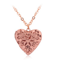 Barato Caixa Emoldurada Flor-Vintage Heart Box Photo Frame Locket Pendant Necklace Mulheres Men Fashion Hollow Star Flower Love Jóias por atacado Gift
