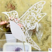 Wholesale Glass Tables For Sale - 100pcs white Laser Cut Wine Glass Cards for Wedding table seat place Cards Bird Shape Wedding Party Decoration 2016 Hot Sale