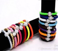 Wholesale European Leather Bracelets Mixed Colors - PU Braid Leather Bracelet For Women Handmade Fit White Crystal Shamballa Bead Bracelet With Clasp 24 Colors Can Be Mixed Color