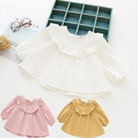 yuvarlak uzun gömlek tasarımı toptan satış-Katı Renk Gömlek Kızlar için Yuvarlak Boyun Bahar Pamuk Bebek Kız Giysileri Moda Tasarım Uzun Kollu 17081904 Tops