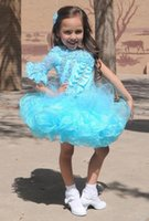 Wholesale Turquoise Ball Gowns Sleeves - 2016 Turquoise Glitz Pageant Dress One Sleeve Ball Gown Design Cupcake Bottom Organza Kids Flower girls dresses