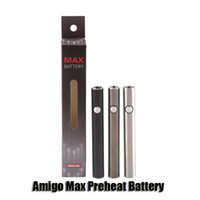 Wholesale Vaporizer Voltage Battery - Original Amigo Max Preheat Battery 380mAh Variable Voltage Bottom Charge 510 Battery For Thick Oil Vaporizer Pen Cartridges