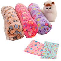 Wholesale Warm Dog Blankets - Hot 104*76cm Pet Blankets Paw Prints Blankets for pet cat and dog Soft Warm Fleece Blankets Mat Bed Cover IB307
