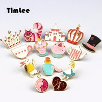 Wholesale Cartoon Christmas Balls - Timlee X227 Cartoon Cat Cute Wonderland Enamel Pins Alice Brooch Crown Metal Brooch Pins Gift Wholesale