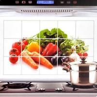 nuevo diseo nico papel de aluminio a prueba de agua a prueba de aceite etiqueta de la pared verduras flores adhesivos de decoracin de la cocina fashion