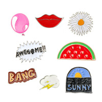 Wholesale red lips clothing for sale – custom Lovely Drip Oil Badge For Children Clothes Enamel Pin Watermelon Red Lips Clouds Brooches Gift yxa B R