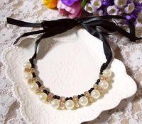 Wholesale Diamond Pearl Ribbon Necklace - Europe and The United States Luxury Imitation Pearl Diamond Ribbon Short Necklace