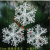 Wholesale White Snowflake Tree Ornaments - New christmas tree snowflake ornaments White XMAS Christmas Snowflake Charms Decoration Ornaments Applique For Tree 2016 HOT