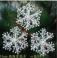 ingrosso applique dell'albero di natale-Nuovo albero di natale ornamenti fiocco di neve Xmas bianco Natale fiocco di neve Charms Decorazione ornamenti Applique per albero 2016 CALDO