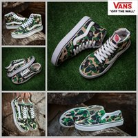 Wholesale High Top Slip Shoes - 2017 VANS X Aape Custom Sneakers Women Mens High Tops Old Skool Slip On Green Camo Canvas Casual Fashion Sport Sneakers shoes 36-44