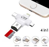 lector de tarjetas usb para ipad al por mayor-4 en 1 Tipo-c / Lightning / Micro USB / USB 2.0 Lector de tarjetas de memoria Lector de tarjetas Micro SD para Android Ipad / iphone Lector OTG Destacado
