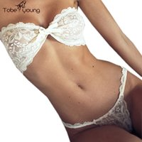 Wholesale White Babydoll Lingerie Strapless - Wholesale-Sexy Bra Set Lace See Through Brassiere Suit Wireless Elegant Sexy Bandage Bustier Nightwear Women Lingerie Babydoll G-string
