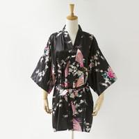 Wholesale pink nightgown sale for sale - Hot Sale Women Sexy Faux Silk Bathrobe Wedding Bridesmaid Robe Dress Nightgown Flower Kimono Bath Gown Plus Size XXXL YF3033