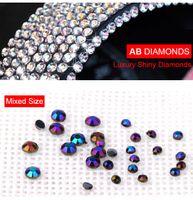 Wholesale Acrylic Nail Tips Small - F419 New Arrival Charm black AB Color Diamond Nail Art Decorations Small Round Box Installed 2-3mm Mix Acrylic Drill Nail Tips