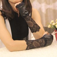 Wholesale Sexy Short Leather Gloves - Black gothic punk lady girl Sexy Disco dance costume party lace short fingeless PU leather long gloves arm warmer free shipping wholesale