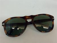 Wholesale Glasses Aviator Case - Persol PO 649 Sunglasses Tortoise Havana Green Lens Aviator Sunglasses brand new with case