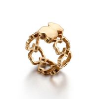 Wholesale Gold Rings New Designs - 2017 New Fashion Design Stainless Steel Women Spanish Brand Silver 18k Gold Rings with crystal Size 6.7.8.9 Jewelry Anillo no fade bear