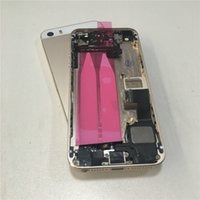 Wholesale Middle Frame Iphone Complete - Gold Complete Full Assembly Housing Rear Middle Frame Back Metal Battery Cover Case Replacement for iPhone 5s