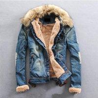 Wholesale Men S Jeans Jackets - Wholesale- 2016 New Collar Wool Denim Jacket Thick Clothes Plus Size Winter Men Clothing Jeans Coat Men Outwear S-3XL